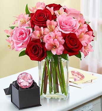 Spring Delight Rose & Peruvian Lily + Free Vase