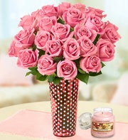 Fresh Rose Bouquet with Yankee Candle�