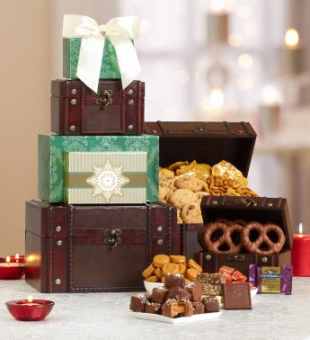 Holiday Treasures Trunk Gourmet Gift Tower
