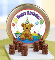 Happy Birthday! Teddy Bear Milk Chocolates Tin