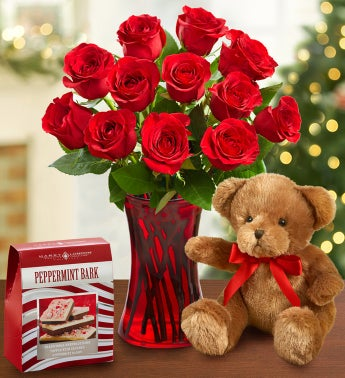 Festive Red Roses & Bear + Free Peppermint Bark