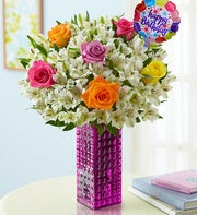Birthday Rose & Peruvian Lily Bouquet