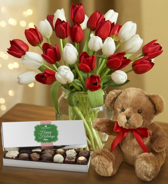 30 Holly Jolly Tulips + Free Vase & Chocolate
