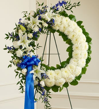 Serene Blessings Standing Wreath - Blue & White