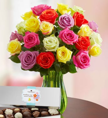 Assorted Roses with Chocolate, 12-24 Stems