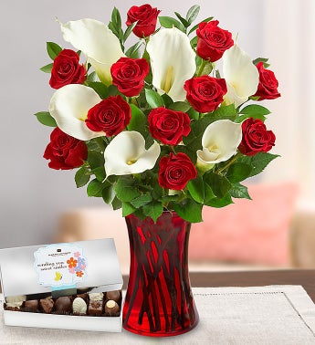 Romantic Red Rose & Calla with Chocolate
