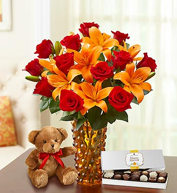 Elegant Autumn Rose & Lily with Bear & Chocolate