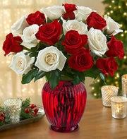 Peppermint Roses Buy 12 Get 6 Free + Free Vase