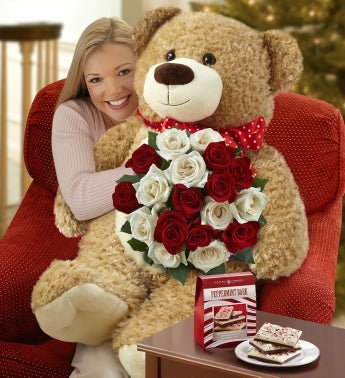 Big Bear with Peppermint Rose Bouquet