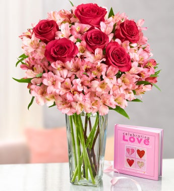 True Love Rose and Peruvian Lily Bouquet with Book