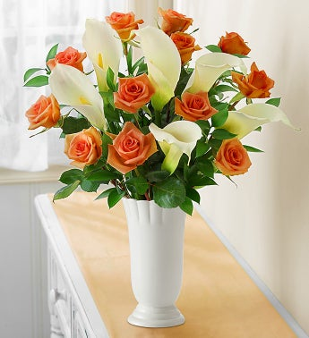 Orange Rose and Calla Lily for Sympathy
