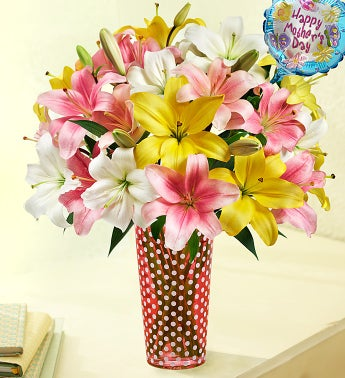 Cherished Mom Lily Bouquet with Balloon