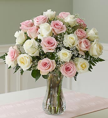 Two Dozen Long Stem Pink & White Roses with Rakhi