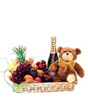 Teddy Moet and Fruit Tray