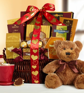 Valentine Deluxe Balsam Basket and FREE Teddy Bear