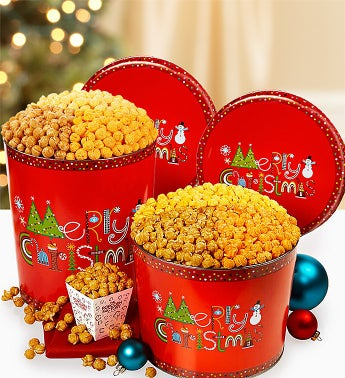 The Popcorn Factory� Merry Christmas Popcorn Tins