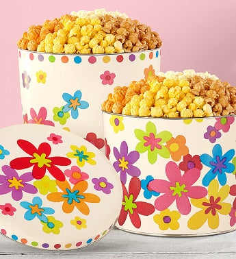 Popcorn 4 Way Summer Floral Tin