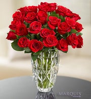 Marquis by Waterford� Vase + 24 Red Roses