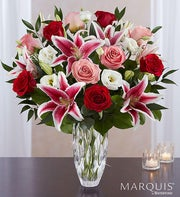 Marquis by Waterford� Red Rose and Lily Bouquet