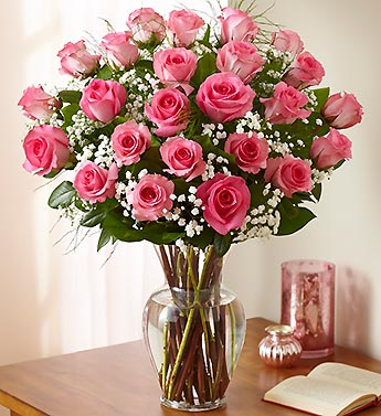 Two Dozen Premium Long Stem Pink Roses