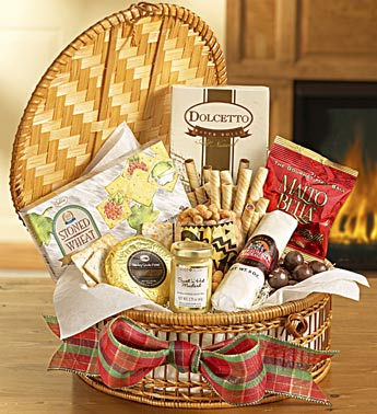 assorted snacks in wicker basket