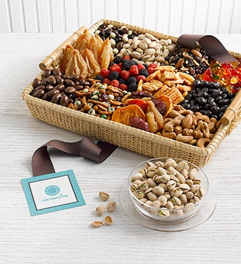 gourmet snacks in woven nantucket basket