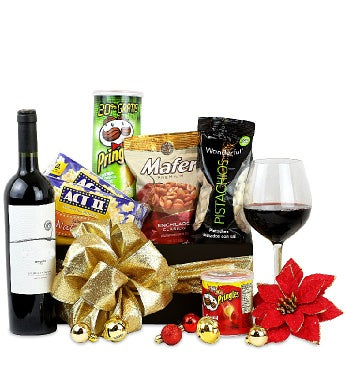 Christmas Red Wine and Snacks