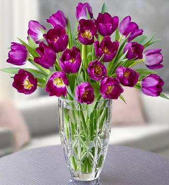 Marquis by Waterford� Vase + 20 Purple Tulips