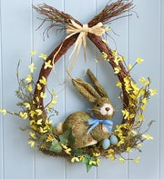 Easter Bunny Faux Wreath - 18""