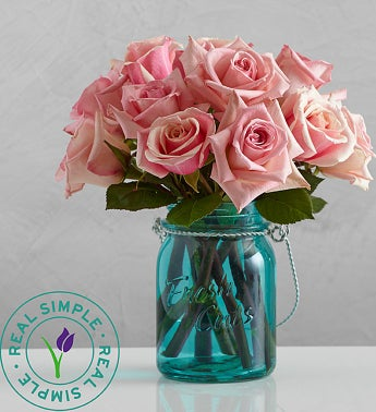 Pink Roses with Mason Jar by Real Simple�