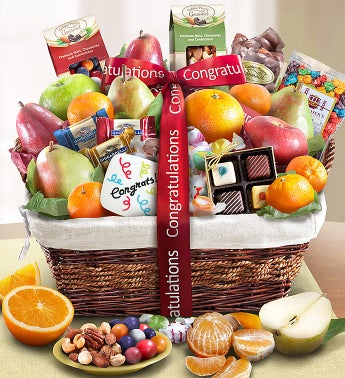 Congratulations Fruit & Sweets Gift Basket