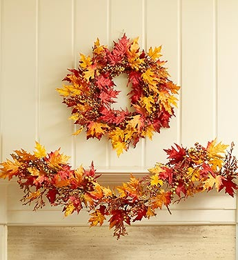Faux Leaf and Berry Wreath - 24""