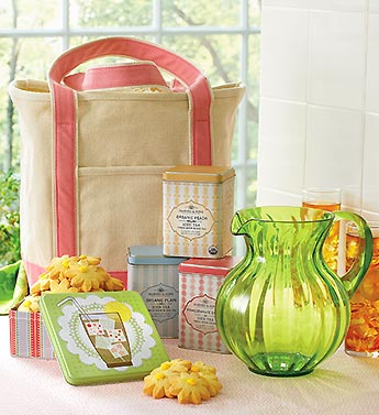 gourmet iced tea and cookies in wove tote bag