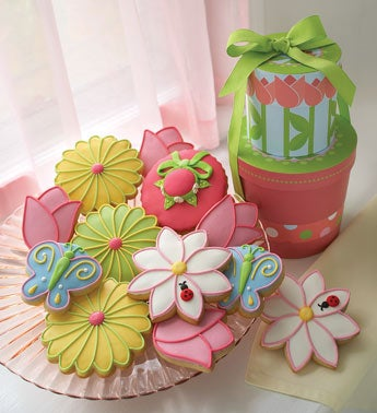 gourmet iced cookies in the shape of flowers