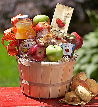gourmet apple treats in bushel basket