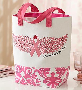 Breast Cancer Awareness Pink Ribbon Wing Tote