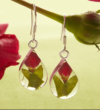 Fresh Rosebud Teardrop Earrings