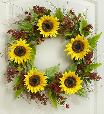 Silk Sunflower, Berry and Twig Wreath