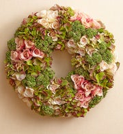 Silk Hydrangea and Rose Wreath