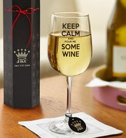 Keep Calm and Pour Me Some Wine Wineglass