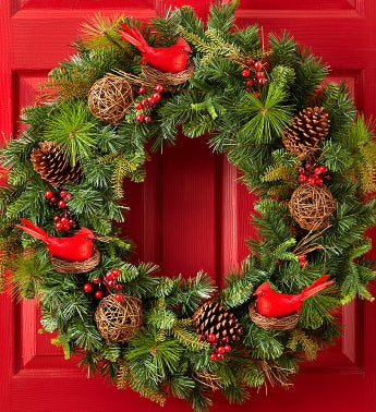 "Christmas Faux Pinecone & Cardinal Wreath - 30""D"
