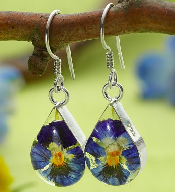 Fresh Pansy Teardrop Earrings
