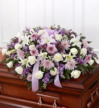Cherished Memories Lavender Half Casket Cover