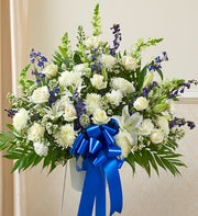 Heartfelt Sympathies Standing Basket-Blue & White