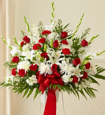 Heartfelt Sympathies Standing Basket-Red & White