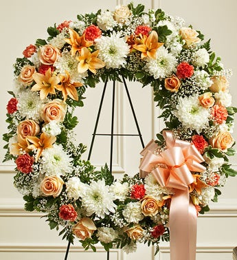 Serene Blessing Standing Wreath-Peach/Orange/White