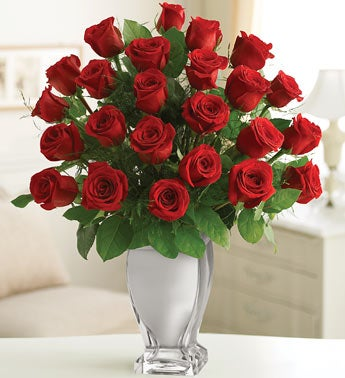 Red Premium Long Stem Roses in Silver Vase