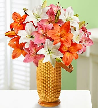 Summer Lilies, 25 Blooms with Nantucket Vase