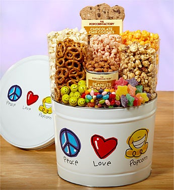 Peace, Love & Popcorn Tin