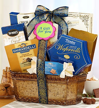 Grand Elegance Blue & Gold Gift Basket